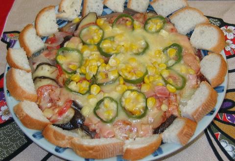 玉ネギと夏野菜の重ねチーズ焼き